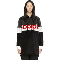 Adidas By Alexander Wang Originals Black And White Disjoin Jersey Long Sleeve Polo