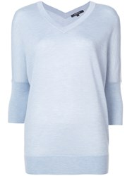 Derek Lam Batwing Sweater With Tonal Back Blue