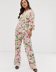 Liquorish Wide Leg Trousers In Floral Print With Green Piping Co Ord Multi