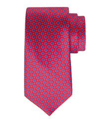 Stefano Ricci Small Square Print Silk Tie Red White