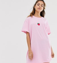 Daisy Street Oversized T Shirt Dress With Strawberry Embroidery Pink