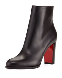 Christian Louboutin Adox Leather Block Heel Red Sole Boot Black