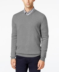 Club Room Men's Cashmere V Neck Sweater Only At Macy's Grey Heather