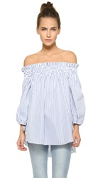 Caroline Constas Lou Off The Shoulder Blouse Blue Stripe