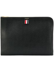 Thom Browne Pebbled Leather Document Gusset Folio Black