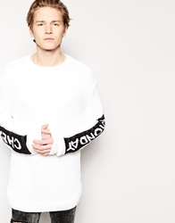 Cheap Monday Crew Jumper Inte Inverted Logo Sleeves White