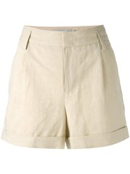Vince Chino Shorts Women Cotton Linen Flax Lyocell 2 Nude Neutrals
