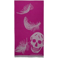 Alexander Mcqueen Pink And Grey Oversized Skulls Scarf