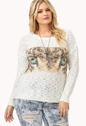 Forever 21 Plus Size Tiger Eyes Open Knit Sweater Ivory Brown