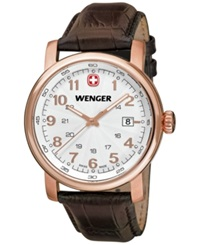 Wenger Men's Swiss Urban Classic Brown Leather Strap Watch 41Mm 01.1041.109
