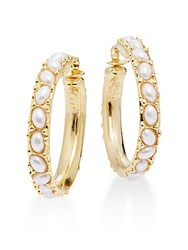 Kenneth Jay Lane Couture Collection Faux Pearl Hoop Earrings 1.75 Polished Gold