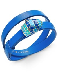 Kate Spade New York Gold Tone Crystal And Enamel Snake Head Leather Wrap Bracelet Blue