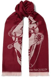 Alexander Mcqueen Fringed Wool Jacquard Scarf Burgundy