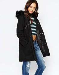 New Look Longline Parka With Faux Fur Hood Black