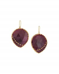 Lana 14K Heart Stone Red Sapphire Drop Earrings Pink