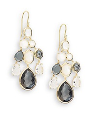 Ippolita Rock Candy Hematite Clear Quartz Mother Of Pearl And 18K Yellow Gold Doublet Chandelier Earrings Gold Multi