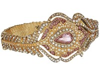 Betsey Johnson Blue By Pink And Gold Tone Peacock Feather Hinge Bracelet Pink Bracelet