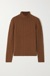 Theory Cable Knit Cashmere Sweater Brown