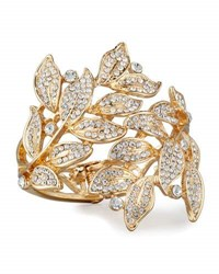 Lydell Nyc Pave Crystal Leaves Statement Cuff Bracelet