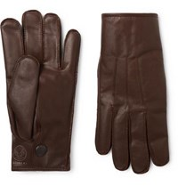 Rrl Officer's Cashmere Lined Leather Gloves Brown