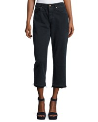 Dl Patti High Rise Cropped Straight Leg Jeans With Released Hem Fallen Black