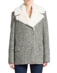 Kenneth Cole Reaction Faux Fur Collared Coat Grey