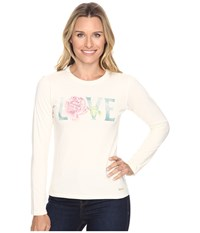 Life Is Good Love Rose Long Sleeve Crusher Tee Simply Ivory Women's Long Sleeve Pullover White