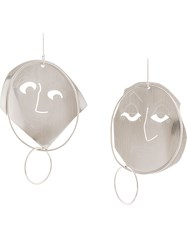 J.W.Anderson Jw Anderson Face Motif Earrings Silver