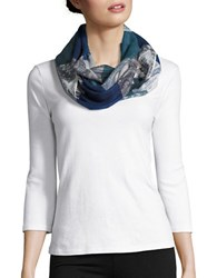 Lord And Taylor Colorblocked Paisley Scarf Blue
