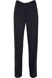 Agnona Pinstriped Wool Blend Wide Leg Pants