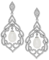 Arabella Cultured Freshwater Pearl 7Mm And Swarovski Zirconia Orbital Drop Earrings In Sterling Silver White