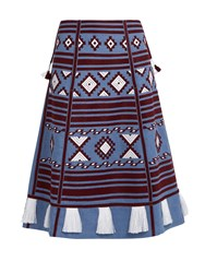 Vita Kin Croatia Embroidered Linen Skirt Blue Multi