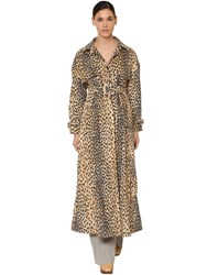 Jacquemus Printed Cotton Blend Velvet Trench Coat Leopard