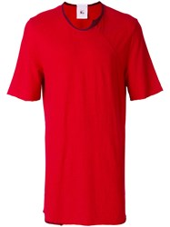 Lost And Found Rooms Piquet T Shirt Cotton Linen Flax Red