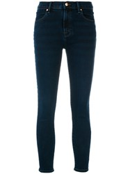 J Brand Cropped Skinny Jeans Cotton Polyurethane Blue