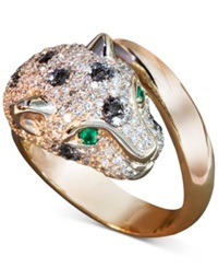 Effy Collection Effy Signature Black And White Diamond 1 1 3 Ct. T.W. And Emerald Accent Panther Ring In 14K Rose Gold