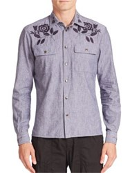 Tomas Maier Embroidered Chambray Shirt Dark Blue