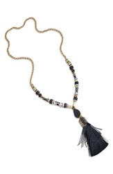 Natalie Waldman Women's 'Black Gold Rush' Tassel Pendant Necklace