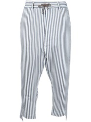 Vivienne Westwood Man Striped Cropped Trousers White