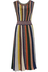 Missoni Convertible Wrap Effect Pleated Metallic Crochet Knit Dress Black