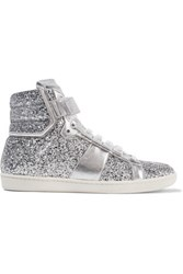 Saint Laurent Glittered Leather Sneakers Silver