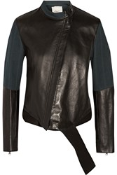 3.1 Phillip Lim Two Tone Canvas Paneled Leather Jacket Black