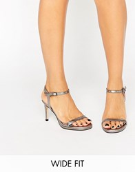 Faith Wide Fit Dolly Pewter Metallic Barely There Heeled Sandals Pewter Metallic Silver