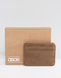 Asos Card Holder In Taupe Faux Leather Taupe Grey
