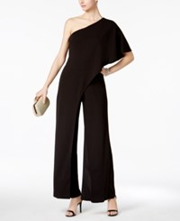 Adrianna Papell Petite Draped One Shoulder Jumpsuit Black