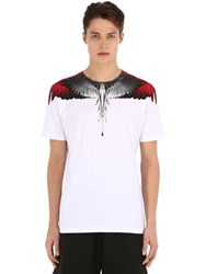 Marcelo Burlon Printed Cotton Jersey Wings T Shirt White Red