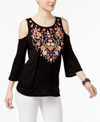 Inc International Concepts Cold Shoulder Top Only At Macy's Deep Black
