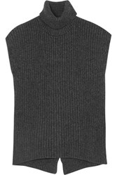 Brunello Cucinelli Ribbed Cashmere Blend Sweater Charcoal