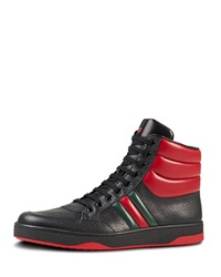 Gucci Contrast Padded Leather High Top Sneaker Black