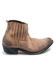 Golden Goose Deluxe Brand Distressed Western Style Boot Brown
